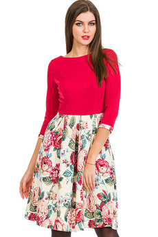 Красно белое платье с цветами Mondigo